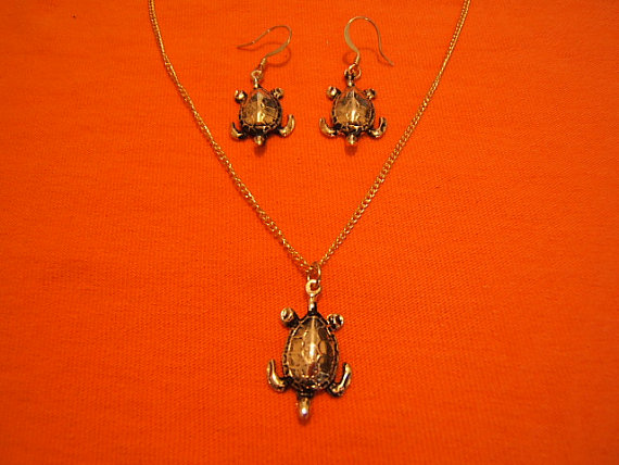 Trending Fashion, Turtle, Sea Turtle Earring and Necklace Set, #80101-1