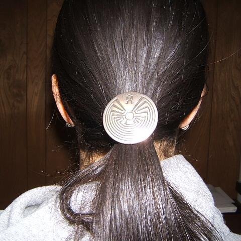 Tribal Indian Man in Maze Ponytail Holder, Pewter, #60655-4