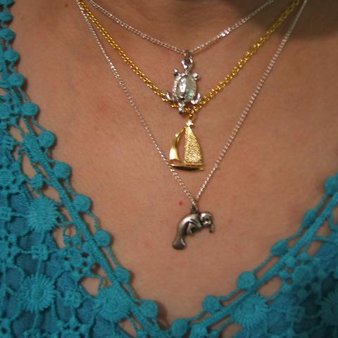Tropical Necklace Set, Turtle, Sea Lion, Sailboat in Assorted Colors, #80089