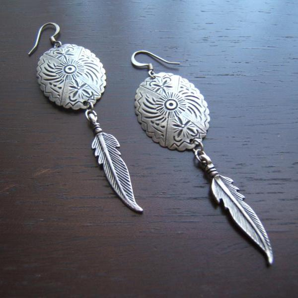 Southwestern Tribal Concho Earrings, Feather Earrings, Tribal Earrings, #80124-1